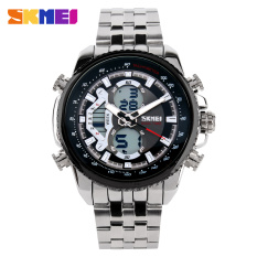 Brand Skmei Men Sports Watches Waterproof Analog LED Diaplay Multi-functional Military Watch Luxury Brand Full Steel Watch Black