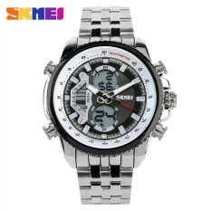 Brand Skmei Men Sports Watches Waterproof Analog LED Diaplay Multi-functional Military Watch Luxury Brand Full Steel Watch Black / White