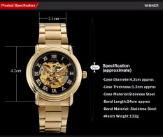Business Men Mechanical Casual Automatic Skeleton Dial Wristwatches Steel Band Reloj Hombre