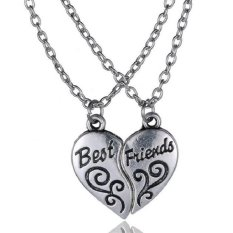 Buytra Best Friends Friendship Pendant Necklaces Chic Broken Heart Necklaces Gift Silver- Intl