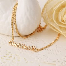Buytra Best Friends Pendant Necklaces Vintage Bestfriend Letters Friendship Necklaces Gold- Intl