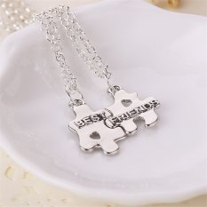 Buytra Trendy Best Friends Pendant Necklaces Friendship Puzzle Letters Chain Necklaces Silver- Intl
