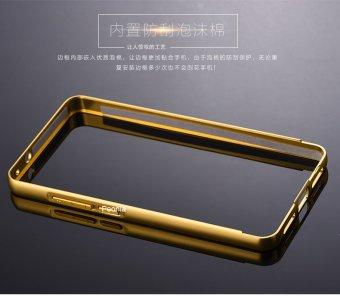 Calandiva Glare Mirror Backcase With Metal Aluminium Bumper For Xiaomi MI4S - Gold Platinum + Gratis