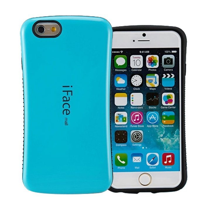 Candy Color Korea Style Shock Absorbing iFace case TPU+PC Hard Case Silicone Cover for iphone 6/6s Aqua Blue (Intl)