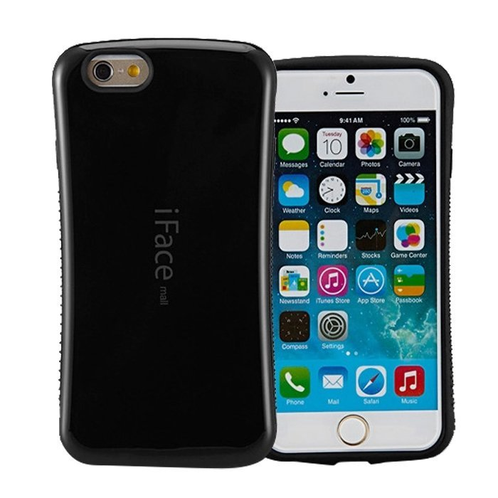 Candy Color Korea Style Shock Absorbing iFace case TPU+PC Hard Case Silicone Cover for iphone 6/6s black (Intl)
