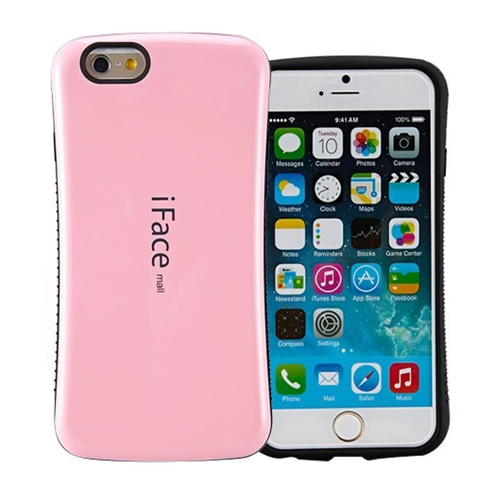 Candy Color Korea Style Shock Absorbing iFace case TPU+PC Hard Case Silicone Cover for iphone 6/6s pink (Intl)