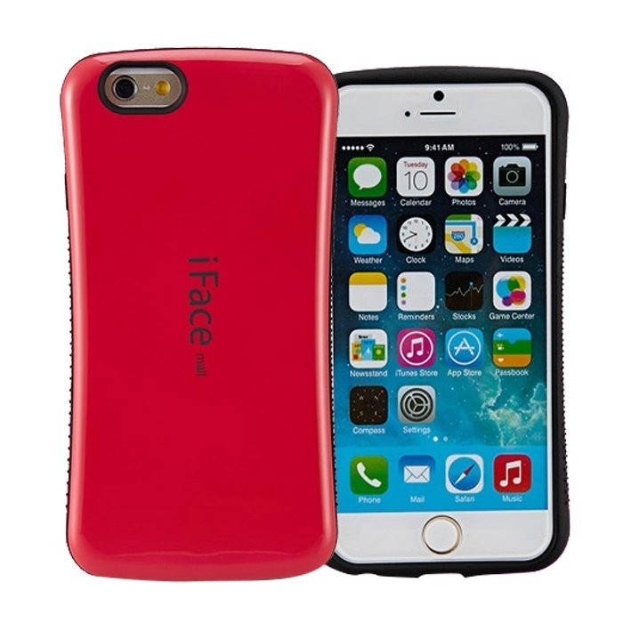 Candy Color Korea Style Shock Absorbing iFace case TPU+PC Hard Case Silicone Cover for iphone 6 plus/6s plus Rose red (Intl)