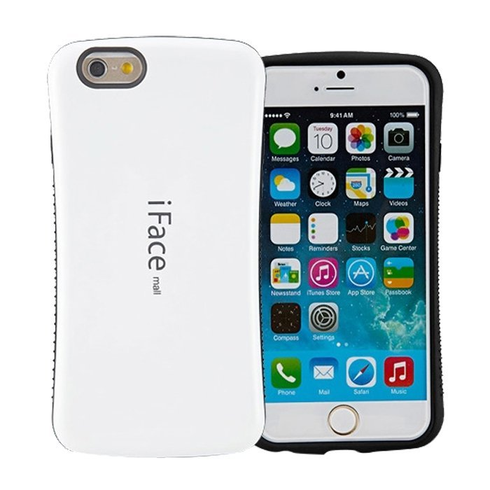 Candy Color Korea Style Shock Absorbing iFace case TPU+PC Hard Case Silicone Cover for iphone 6 plus/6s plus(white) (Intl)