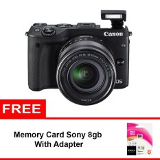 Canon EOS M3 Kit 18-55mm - 24.2 MP - Hitam + Memory Sony 8gb