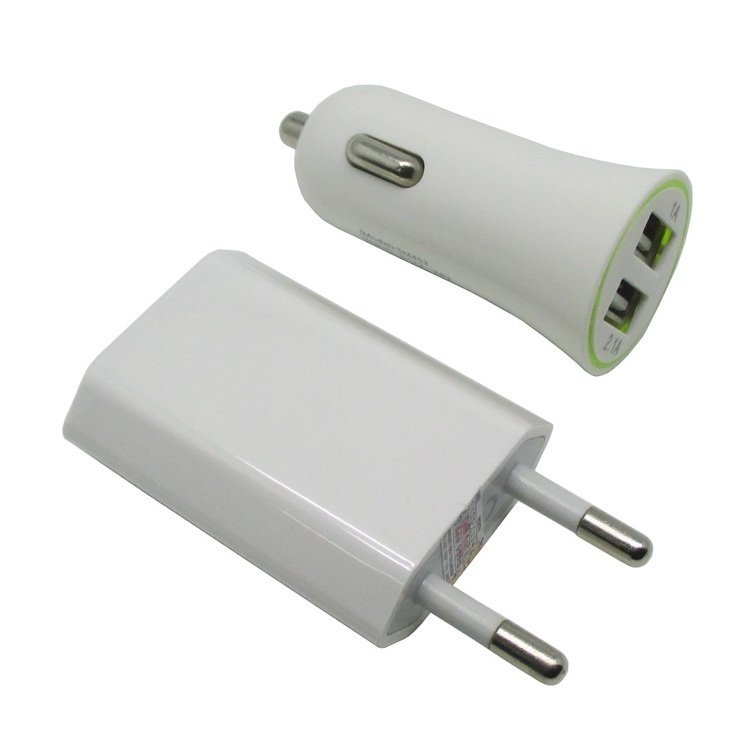 Car Charger 3 in 1 - EU Plug Home Charger - Car Charger - USB Cable - Travel Kit for iPhone - Putih