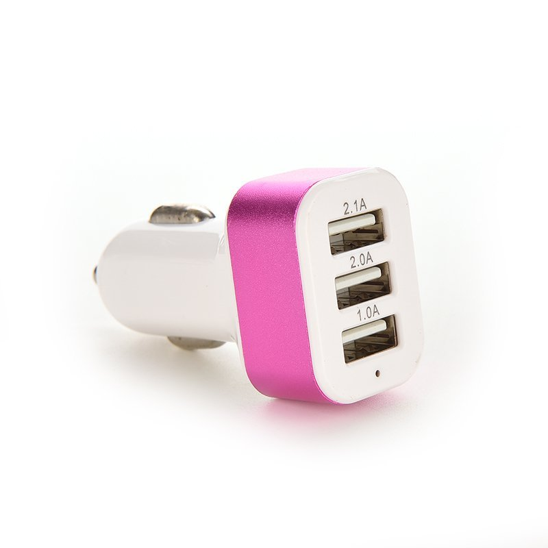 Car Charger Adapter Triple USB Universal For iPhone Samsung LG (Pink) (Intl)
