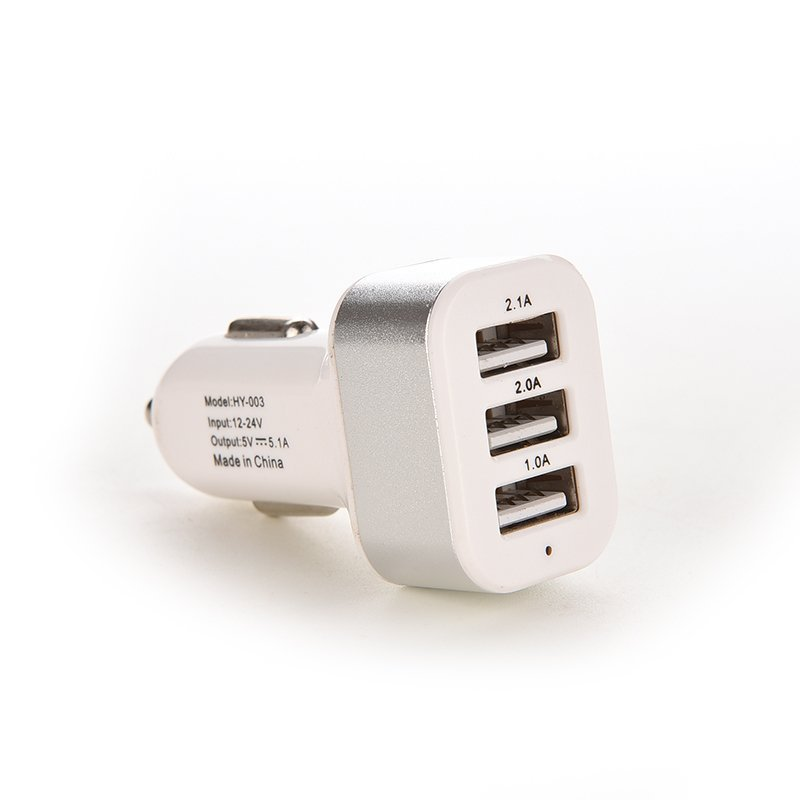 Car Charger Adapter Triple USB Universal For iPhone Samsung LG (Silver) (Intl)