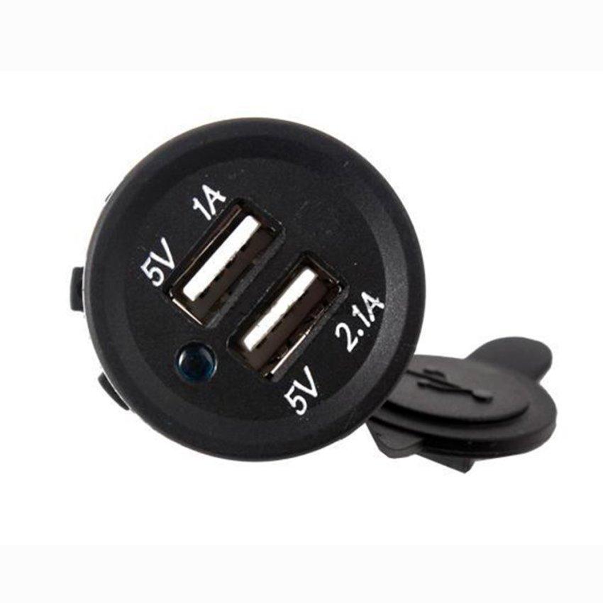 Car Charger Dual USB LED 12V - Black