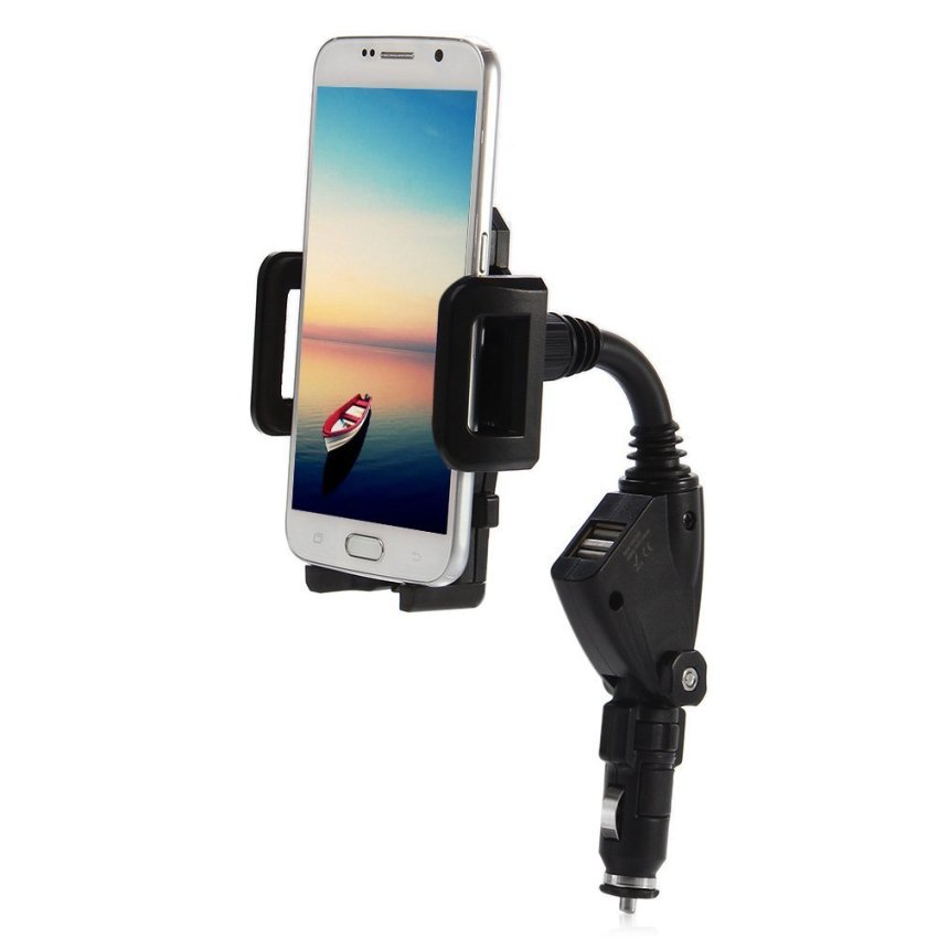 Car Charger Universal Adjustable Mount Stand Holder Dual USB Port for Mobile Phones GPS PDA GPS