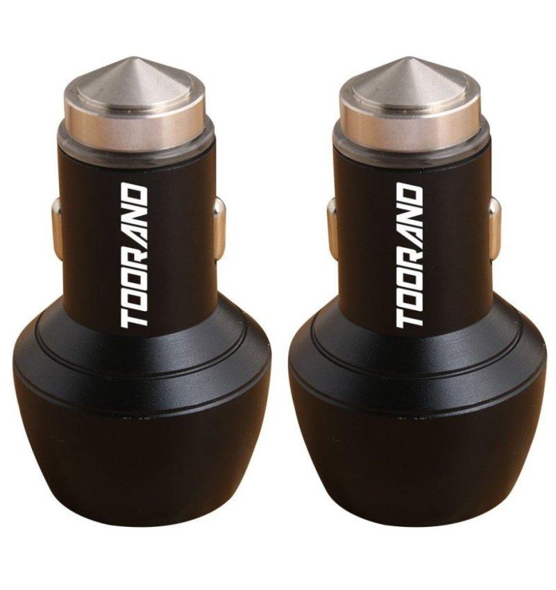 Car Safety Hammer Aluminum Dual 12V 24V USB Multi-functional Car Charger (Black)(INTL)