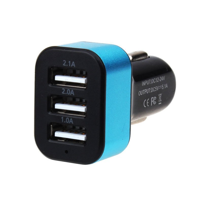 Car Universal 12V 3Port USB DC Charger Adapter for iPhone Cellphone (Blue)