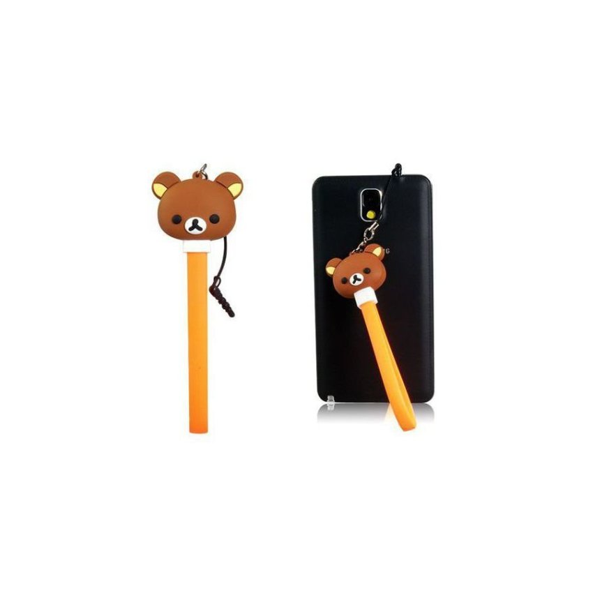 Cartoon Bear Design USB / Micro USB Charging Data Cable with Dust Plug Brown
