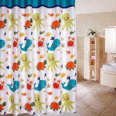 Cartoon Ocean Lovely Fish Animal Pattern Bathroom Fabric Shower Curtain 02
