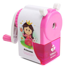 Cartoon Print Hand Crank Desktop Rotary Pencil Sharpener Machine For Kids School Pink