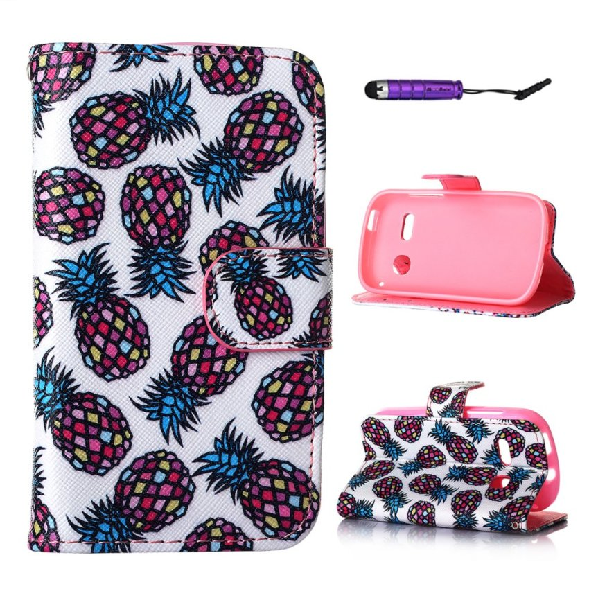 Case for Alcatel One Touch Pop C3 PU Leather Case Flip Stand Wallet Cover with Card Slots - Pineapple (Intl)