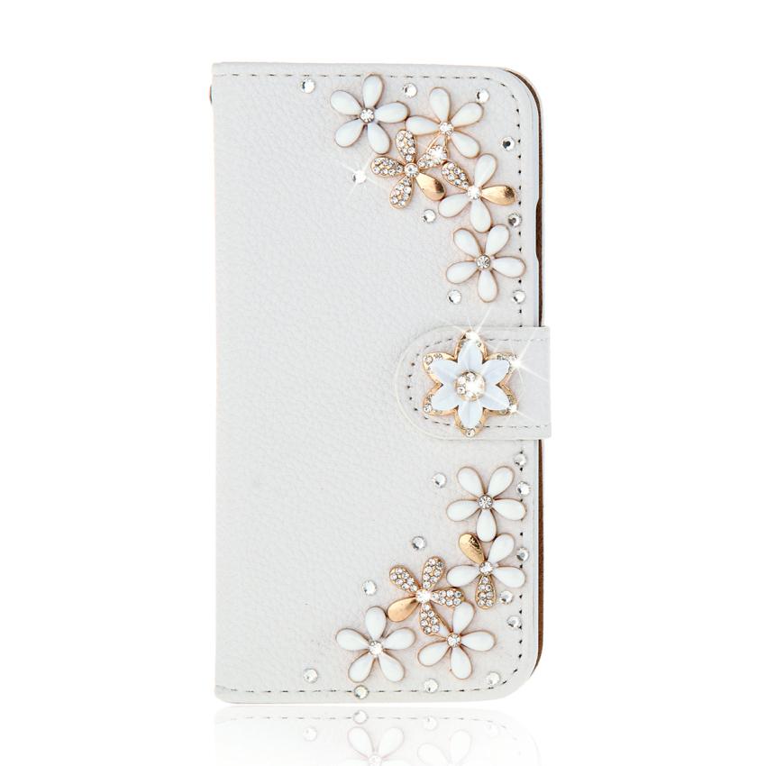 Case for Alcatel One Touch Pop S7 OT7045 White 3D Bling Diamonds PU Leather Flip Case Cover - Flowers (Intl)