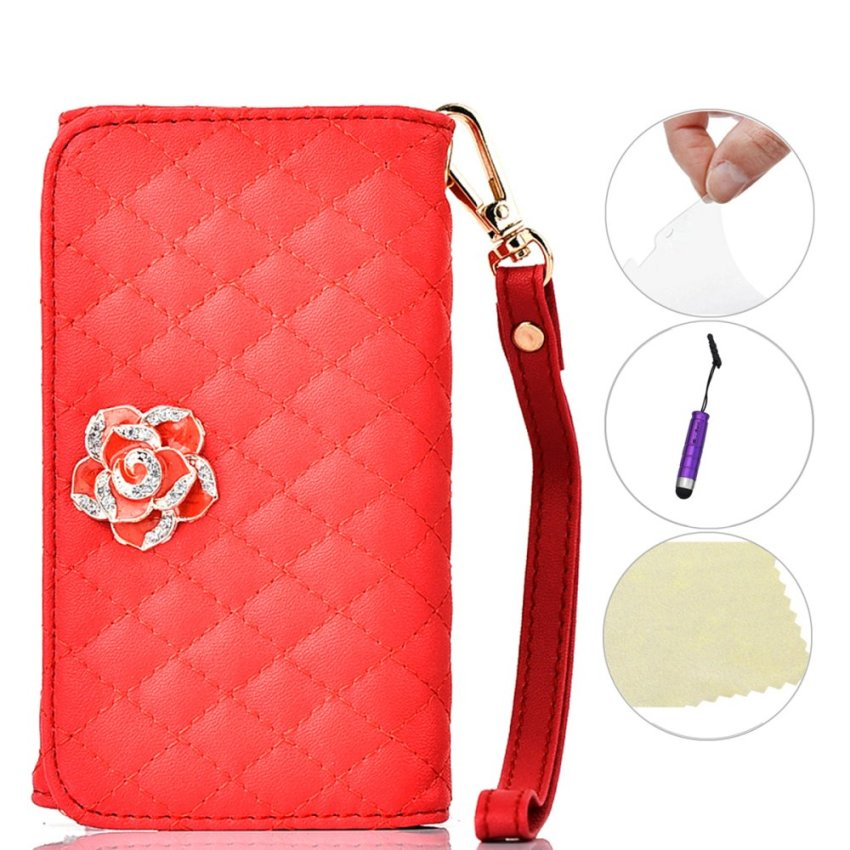 Case for Apple iPhone Samsung Huawei Sony Asus Wiko and Others Universal Bling Purse Wallet Wristlet Flip Case Cover - Red (Intl)