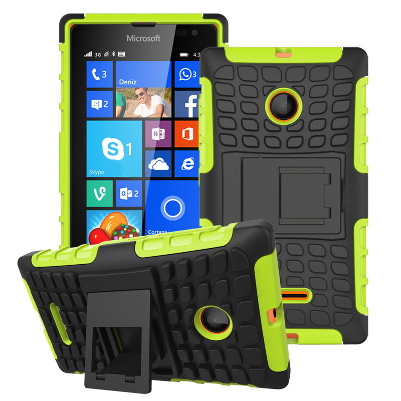 Case for Microsoft Lumia 435 Tire Design Shockproof Defender Case with Kickstand - Green (Intl)