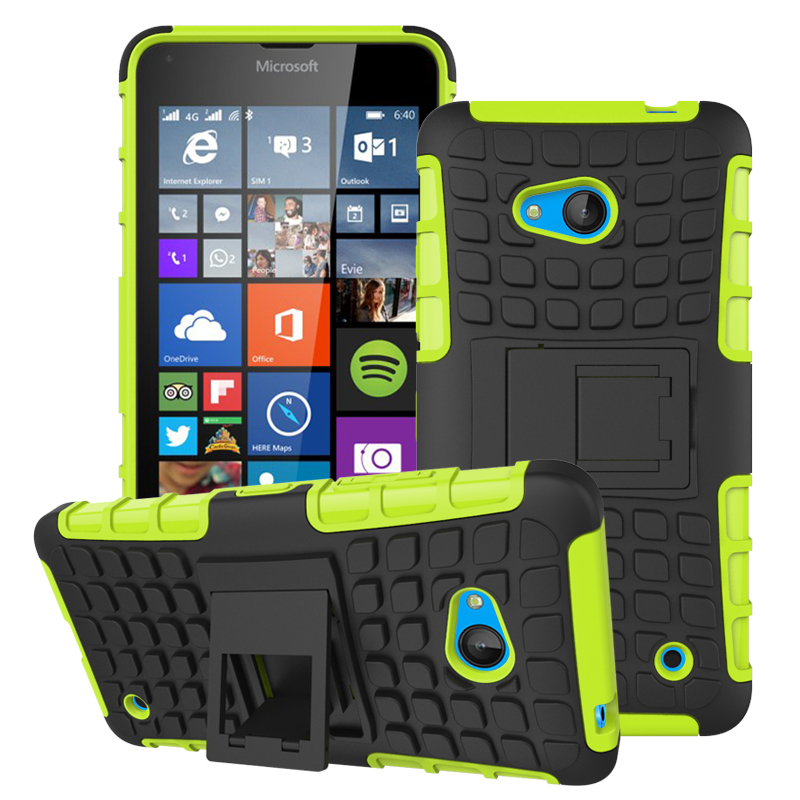 Case for Microsoft Lumia 640 Tire Design Shockproof Defender Case with Kickstand - Green (Intl)