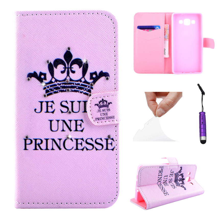 Case for Samsung Galaxy A3 Diamond Multi-functional Leather Flip Case Cover - Crown (Intl)