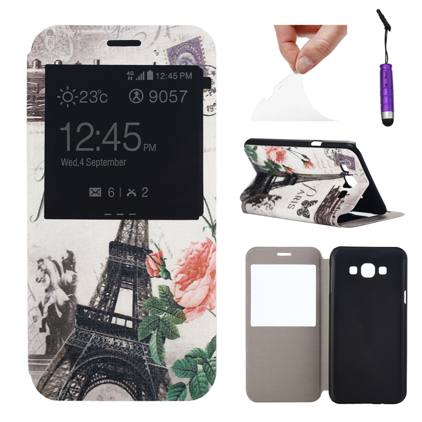 Case for Samsung Galaxy A8 View Window Leather Flip Case Stand Cover - Eiffel Tower (Intl)