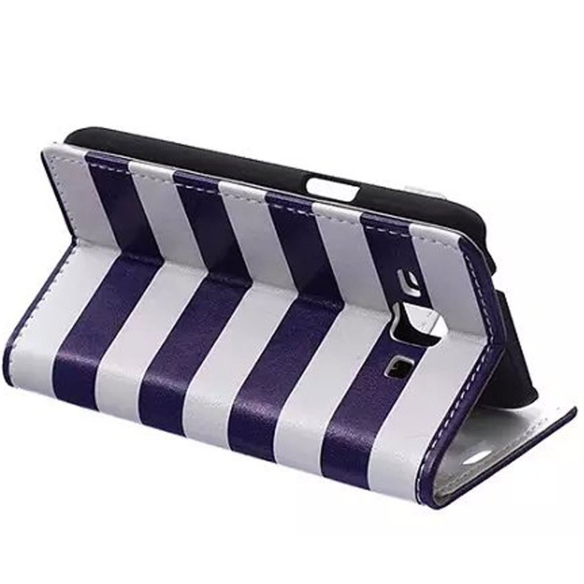 Case for Samsung Galaxy J1 J100 Card Slots PU Leather Flip Stand Case Cover Wallet - Blue and White Stripe (Intl)