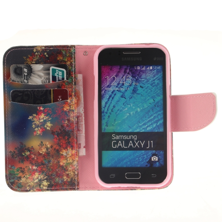 Case for Samsung Galaxy J1 PU Leather Case Flip Stand Cover - Colorful Flower (Intl)