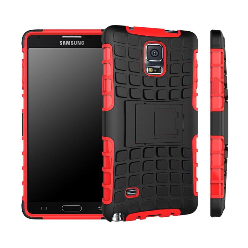 Case for Samsung Galaxy Note 4 N9100 Tire Design High Impact Rugged Shockproof Case with Kickstand - Red (Intl)