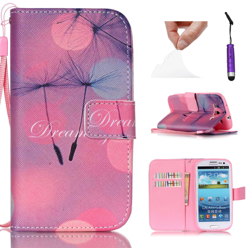Case for Samsung Galaxy S3 i9300 PU Leather Flip Stand Case Cover Wallet - Flying Dandelions (Intl)