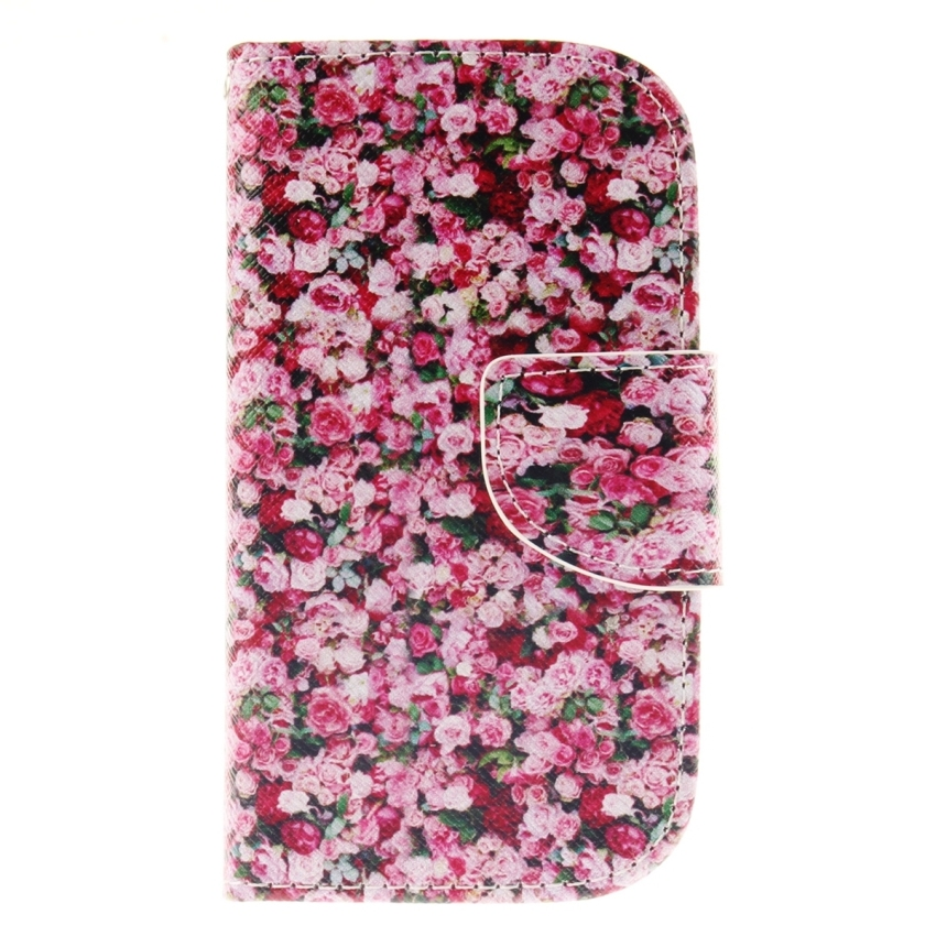 Case for Samsung Galaxy S3 Mini i8190 PU Leather Case Flip Stand Cover - Floral Pattern (Intl)