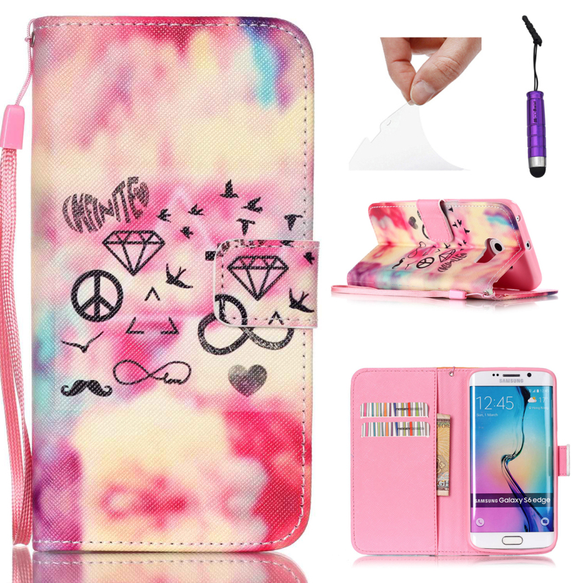 Case for Samsung Galaxy S6 Edge G9250 PU Leather Flip Stand Case Cover Wallet - Mustache Diamond (Intl)
