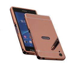 ... Case for Sony Xperia Z3 Alumunium Bumper With Mirror Backdoor Slide Rose Gold