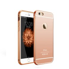Case iphone 5 5s Alumunium Bumper With Mirror Backdoor Slide- Rose gold deb2434d15