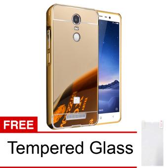 Case Xiaomi Redmi Note 3 Aluminium Bumper Mirror + Tempered Glass- Emas
