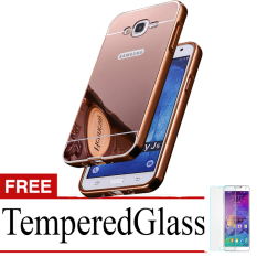 Casing Metal Bumper Mirror for Samsung Galaxy J5 - Rose Gold + Gratis Tempered Glass