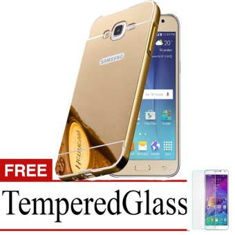 Casing Metal Bumper Mirror for Samsung Galaxy J7 – Gold + Free Tempere Glass