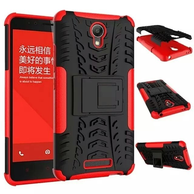 Casing Tough Armor Rubber Case untuk Xiaomi Redmi Note 2 - Merah