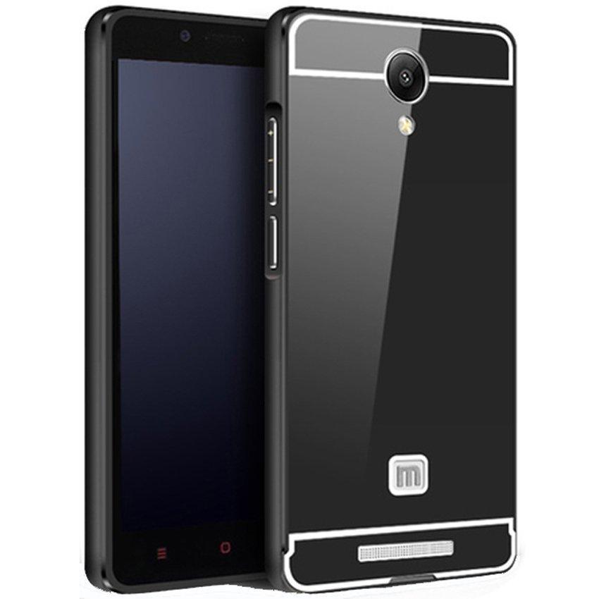 Casing Xiaomi Redmi Note 2 Metal Aluminium Bumper with Polycarbonate Backcase - Hitam