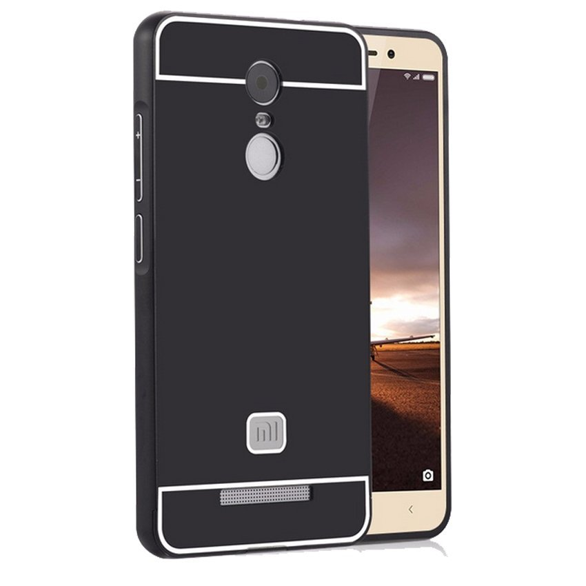 Casing Xiaomi Redmi Note 3 Metal Aluminium Bumper with Polycarbonate Backcase - Hitam + Gratis Tempered Glass