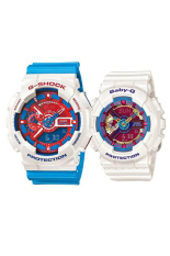 Casio G-Shock & Baby-G Men's &Women's GA-110AC-7A & BA-112-7A Couple Resin Strap Watch Blue / White