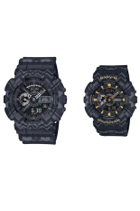 Casio G-Shock & Baby-G Men's & Women's GA-110TP-1A & BA-110TP-1A Couple Resin Strap Watch Black