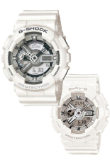 Casio G-Shock & Baby-G Men's Women's GA-110C-7A & BA-110-7A3 Couple Resin Strap Watch White