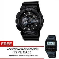 Casio G-shock GA-110-1B - Jam Tangan Pria - Hitam - Resin + Free Casio Calculator Watch CA53