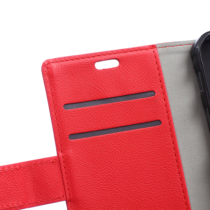 Cass Leather Flip Case With Card Slot for Vodafone Prime 6 (Red) (Intl)