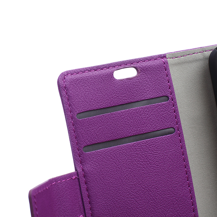 Cass Leather Flip Cover with Card Slot for Sony Xperia M4 Aqua (Purple) (Intl)